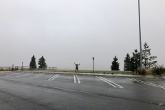 Snow flurries at a Butte rest area