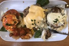 The Trifecta of Eggs Benedict (left to right): Shrimp Boogaloo, Eggs Cochon, Chicken St. Charles
