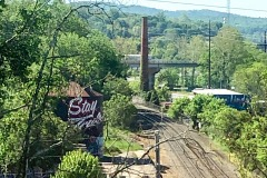 "Asheville water tower that read ""Stay true"" on the way out"